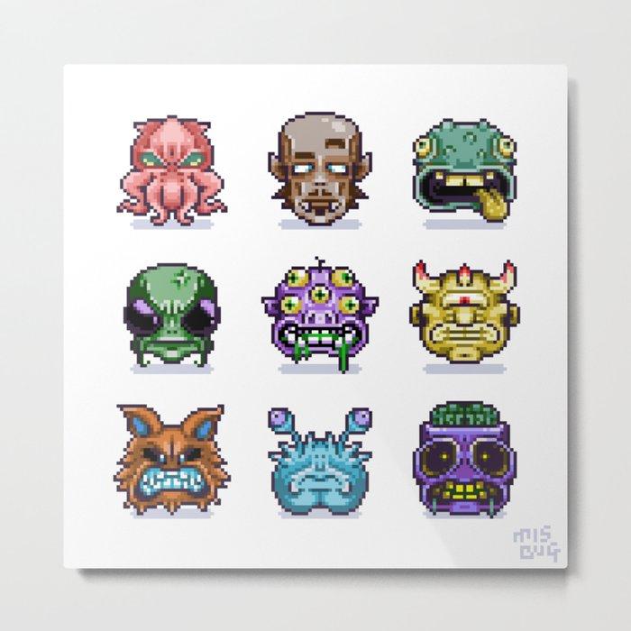 Monster Faces Metal Print