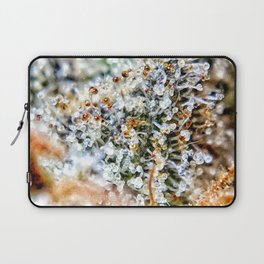 Top Shelf Diamond OG Strain Buds Calyxes Amber Trichomes Close Up View Laptop Sleeve