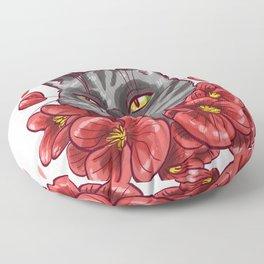 Flowers cat Floor Pillow