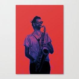 Romantic saxophone performer. Drawing of Street Musician. Illustration Canvas Print