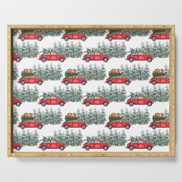 Corgis in car in winter forest Serving Tray