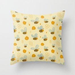 Childish Honey Bees Scandinavian Pattern Throw Pillow