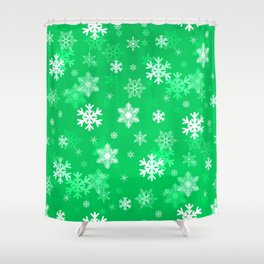 Light Green Snowflakes Shower Curtain