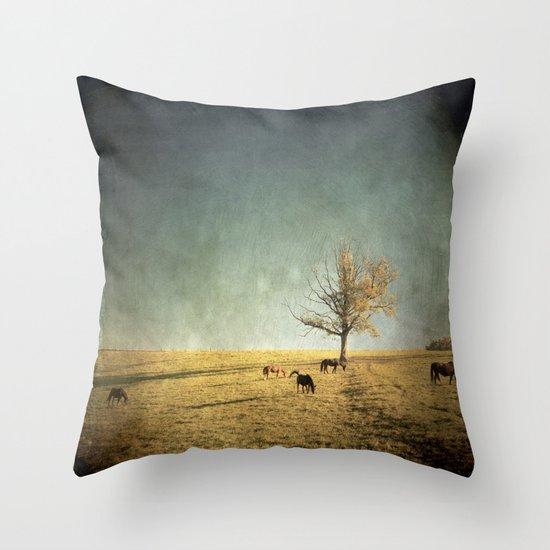 5 horses & a tree Throw Pillow