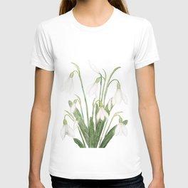 white snowdrop flower watercolor T-shirt
