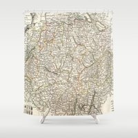 switzerland Shower Curtains featuring Vintage Map of Switzerland (1771) by BravuraMedia