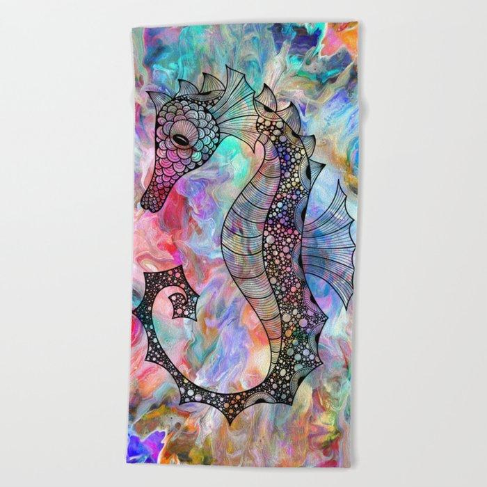 Drawn Seahorse on Colors Beach Towel