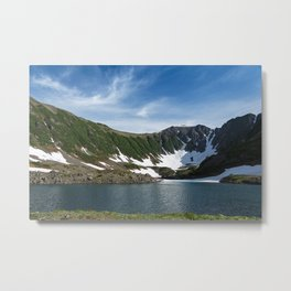 Stunning summer mountain landscape: Blue Lake, green forest on hillsides, blue sky on sunny day Metal Print