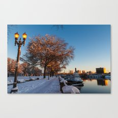 Snow: Portland Waterfront Canvas Print