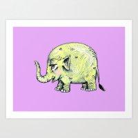 baby elephant Art Prints featuring Baby Elephant by Tara Put