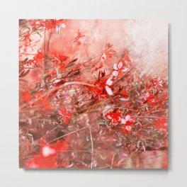 Bright Coral Floral Metal Print