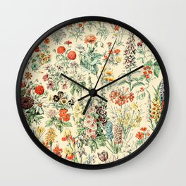 Wildflower Diagram // Fleurs II by Adolphe Millot XL 19th Century Science Textbook Artwork Wall Clock