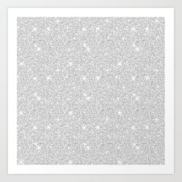 Bright Sparkle White Silver Merry Christmas Light  Art Print