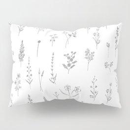 Wildflowers - Grey Flowers Pillow Sham