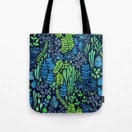 Watercolor floral doodles dark background Tote Bag