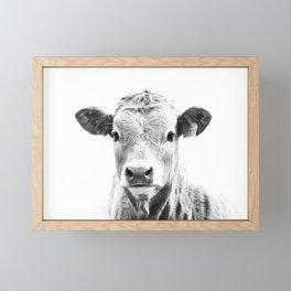 bw cow, southwest decor, farmhouse photography, rustic decor Framed Mini Art Print