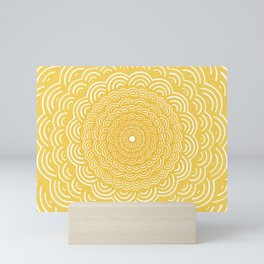 Spiral Mandala (Yellow Golden) Curve Round Rainbow Pattern Unique Minimalistic Vintage Zentangle Mini Art Print