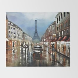 Rainy Paris Throw Blanket