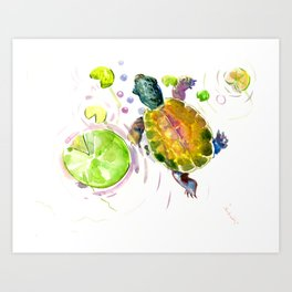 Swimming little cute turtle children nursery art Art Print