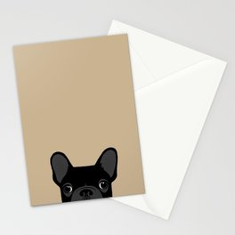 French Bulldog - Black on Tan Stationery Cards