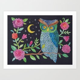 Orlie Owl's Night Garden Art Print