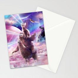 Laser Eyes Space Cat On Sloth Llama - Rainbow Stationery Cards
