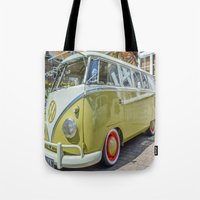 lime green Tote Bags featuring Lime Green Camper Van by Cornish Creations