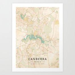 Canberra, Australia - Vintage Map Art Print