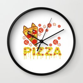 """""""Cat Pizza"""" Food Shirt For Snack Lovers Pepperoni Mushroom Meatballs Cheese Feline Feral Meow Wall Clock"""