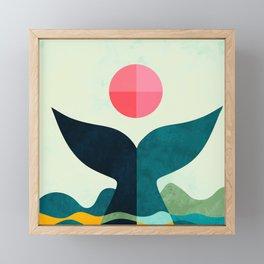 mid century whale sun sea Framed Mini Art Print