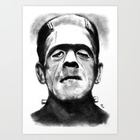 frankenstein Art Prints featuring Frankenstein by Zombie Rust