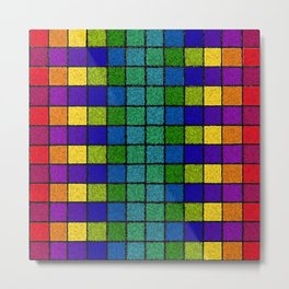 Sponged Chex Metal Print