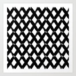 Black and White Criss Cross Pattern Modern Contemporary Art Print