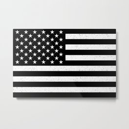 Black and White textured US flag Metal Print