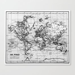 World Map (1899) White & Black Canvas Print