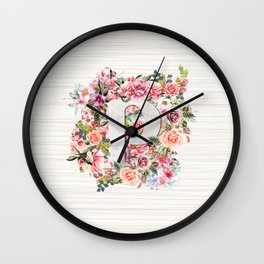 Initial Letter P Watercolor Flower Wall Clock