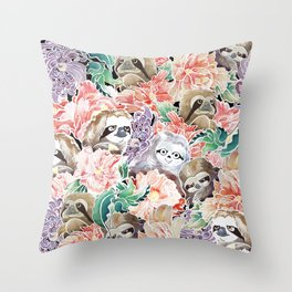 Because Sloths Watercolor Throw Pillow