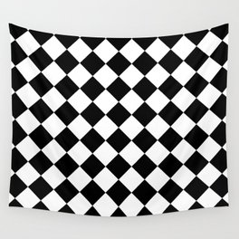 Rhombus (Black & White Pattern) Wall Tapestry
