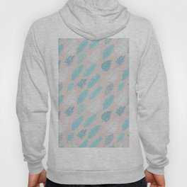 Modern tropical girly pink teal abstract leaves floral Hoody