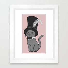 Grey Cat Wears Plumed Top Hat Framed Art Print