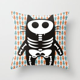 Meow Skeleton Throw Pillow