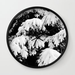 Snow Covered Fir Tree Wall Clock