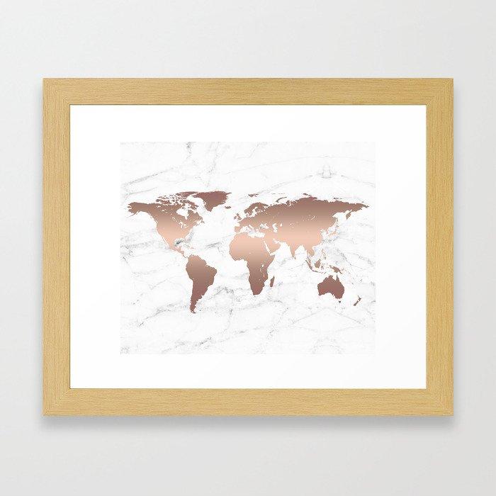 Rose Gold Metallic World Map on Marble Framed Art Print