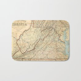 Vintage Map of Virginia (1863) Bath Mat