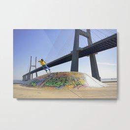 Skate Under Bridge Metal Print
