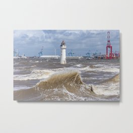 Choppy day at Perch Rock Metal Print