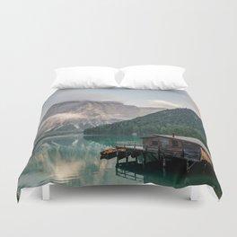 Mountain Lake Cabin Retreat Duvet Cover