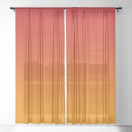 Red Orange Gradient Sheer Curtain