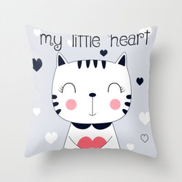 CAT CARTOON WITH HEART Throw Pillow