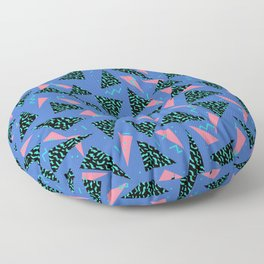 Tina - 80s Triangle print, bright tri blue memphis design, memphis triangle Floor Pillow